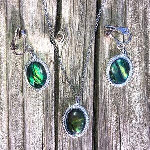 🆕List! Abalone Necklace & Earring Set! VTG!
